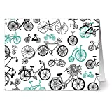 24 Note Cards - Aqua Bicycle Motif - Blank Cards - Gray Envelopes Included