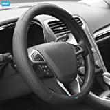 NIKAVI Microfiber Leather Auto Car Steering Wheel Cover Universal 15 inch (BLACK)