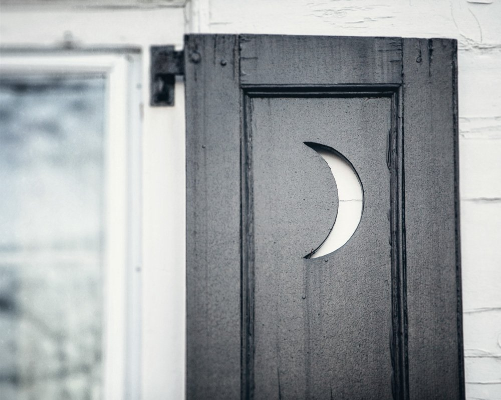 Cottage Chic Bathroom Decor - 'Crescent Moon' - Rustic Bathroom Art Print in Blue Black and White.