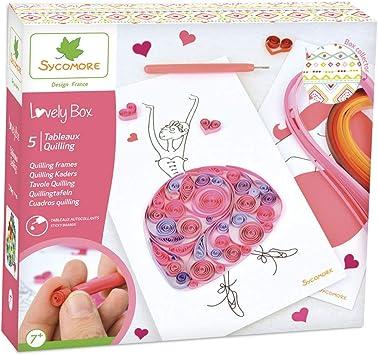 Kit de loisir créatif enfant 5 tableaux quilling DIY Lovely Box Grand Modèle Collector Dès 7 ans Sycomore CRE5300