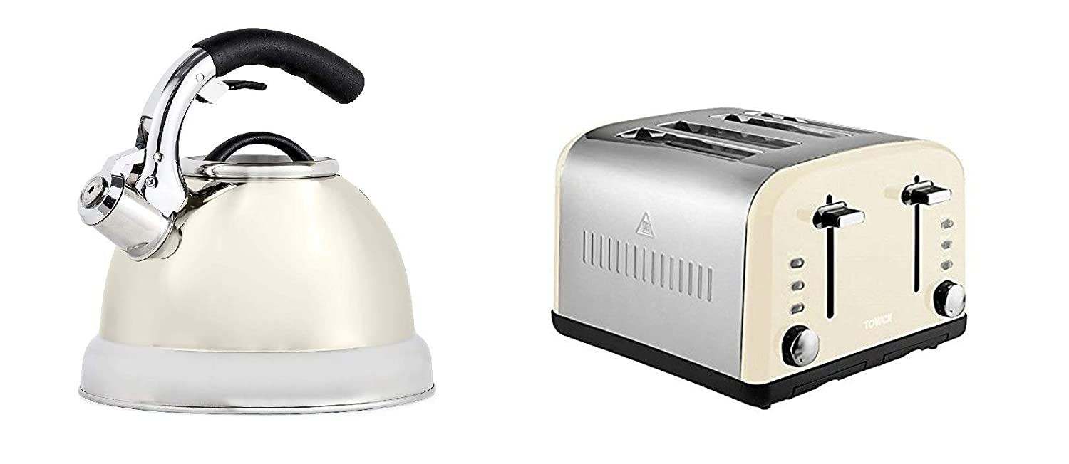 a Cream 3L Whistling Stove Top Kettle and a Cream 4 Slice Toaster Set of 2 Tower Modern Cream Kitchen Appliance Set