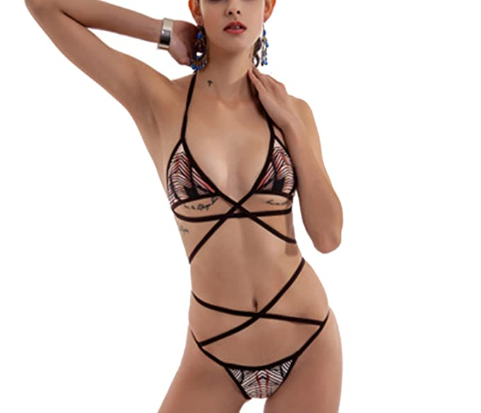 28426b8f1bf4f Amazon.com  Freezing 2018 New Swimwear Sexy Hollow Bikini Leopard ...