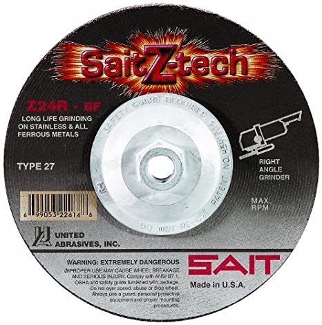 United Abrasives-SAIT 22612 5 by 1//4 by 5//8-11 Z-TECH Type 27 Grinding Wheel 10-Pack