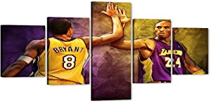 "5 Pices Kobe Canvas Wall Art, Large LA Lakers Kobe Forever Legend 8th 24th Picture, Star Framed Artwork for Home Wall Decor, Black Manba Bryant Canvas Print for Men Boys Room Decor (50"" Wx24 H)"