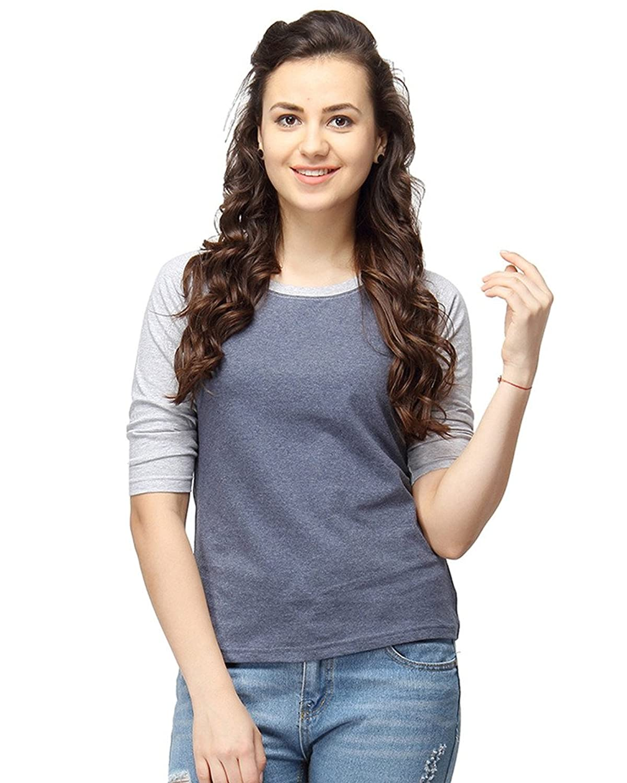 Campus Sutra Women Round Neck Quarter Sleeve T-Shirts