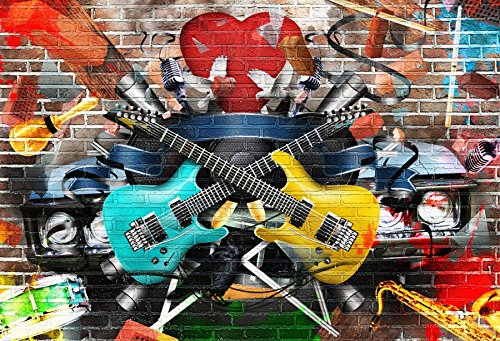 Yeele 5x4ft Graffiti Guitar Backdrop 80S 90S Rock Style Brick Wall Photography Background Picture For Home Party Banner Decoration Boy Adult Portrait Photo Booth Shooting Vinyl Cloth Studio Props