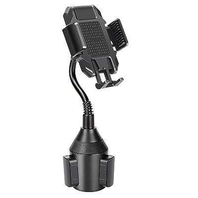 LUKKAHH Car Cup Holder Phone Mount, Universal Adjustable Gooseneck Cup Holder Cradle Car Mount for iPhone 11 Pro/XR/XS Max/X/8/7 Plus/6s/Samsung S10/Note 9/S8 Plus/S7,GPS etc (Black)