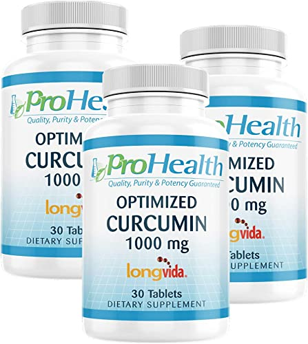 ProHealth Optimized Curcumin Longvida 3-Pack 1000 mg, 30 Tablets 3-Bottles 285x More Bioavailable Joint Health Cognition Anti-Inflammatory Antioxidant Supplement