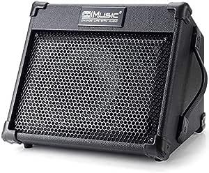 Coolmusic amplificador de guitarra acústica portátil de 40 W con entrada de micrófono, Bluetooth integrado, batería recargable con rendimiento de hasta 8 horas
