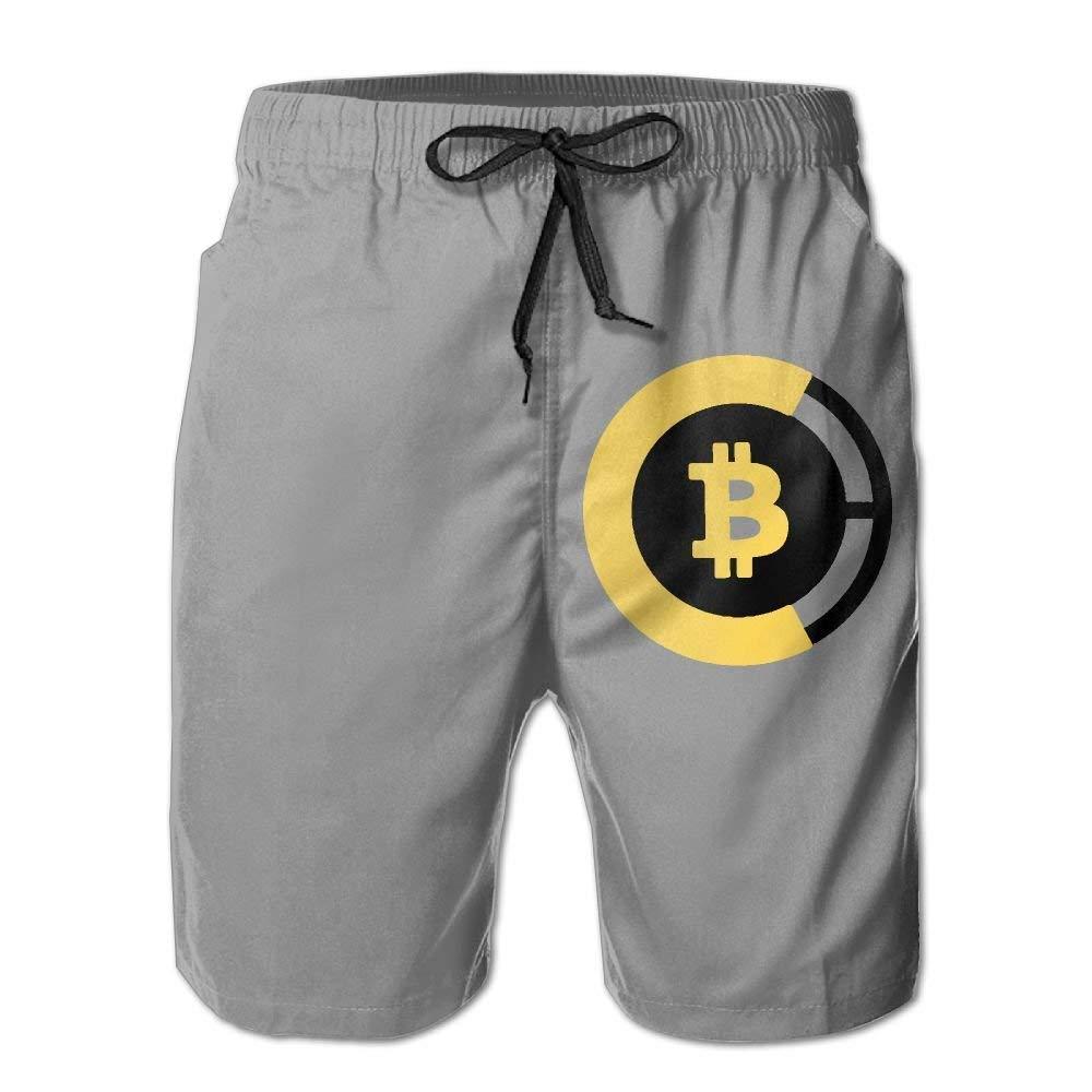 BBggyh Bitcoin 2017 Drawstring Swim Trunks Quick-Drying Beach Shorts for Men