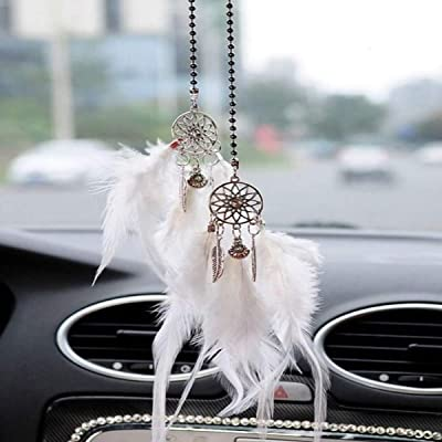 Car Rear View Mirror Hanging Pendant, Feather Dream Catcher Crystal Charm Bling Car Deco Accessories for Women (White): Automotive