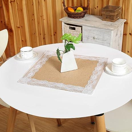 3 Pieces Square Burlap Table Topper Center Peice,Table Overlays,Burlap  Placemats 16u0026quot;