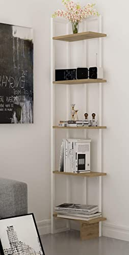 Decorotika Alice 5-Shelf Vintage Industrial Corner Bookshelf, Rustic and Metal Corner Bookcase with Fancy Color Options,Multiple Use Option Oud and White
