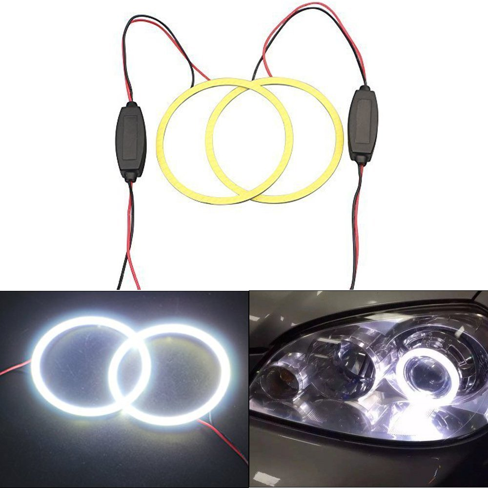 GrandView 2x 120mm Angel Eyes Halo Ring Lamp Light Bulb 93SMD Headlight COB-White