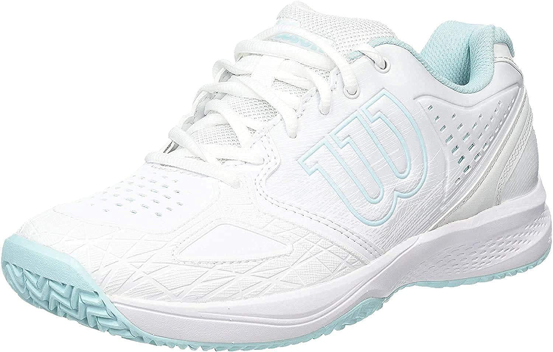Wilson Kaos Comp 2.0 W, Zapatilla de Tenis, para Todo Tipo de Superficies, tenistas de Cualquier Nivel para Mujer, Blanco/Azul/Turquesa, número 39 EU: Amazon.es: Zapatos y complementos