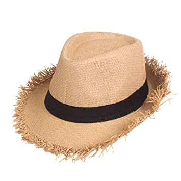 0123fdd35 Amazon.com: Straw Panama Roll up Hat Fedora Beach Sun Hat, Iuhan ...
