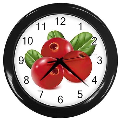 Vida Como rojo bayas marco negro reloj de pared para cocina