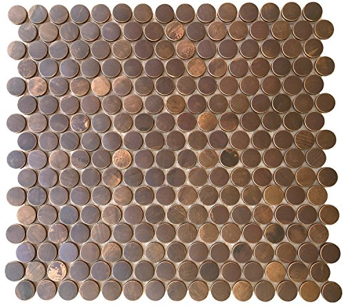 Eden Mosaic Tile Penny Round Antique Copper Mosaic Tile for Bath and Kitchen Backsplash, Fireplace Surround and Other Wall Decor Applications - EMT_T54-COP-AT