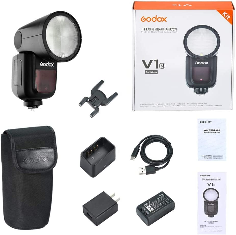 Compatible for Nikon Cameras 76WS 2.4G High-Speed Sync 1//8000s Speedlight for Wedding Portrait Studio Photography Godox V1-N TTL Flash Speedlite