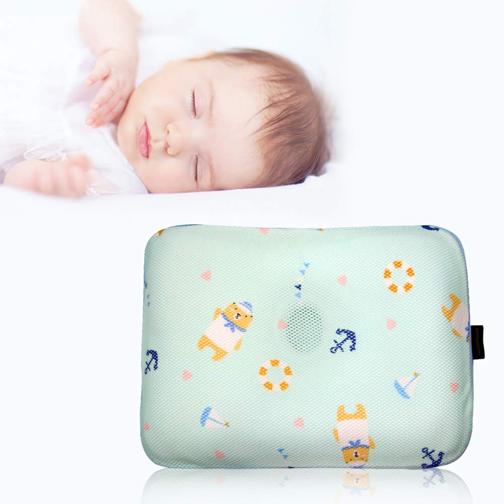 Gio Pillow 3D Air Mesh Baby Pillow for Boys, Premium Newborn Head Shaping Pillow, Flat Head Syndrome Prevention [Marine Bear/Infants 0-8 Months]