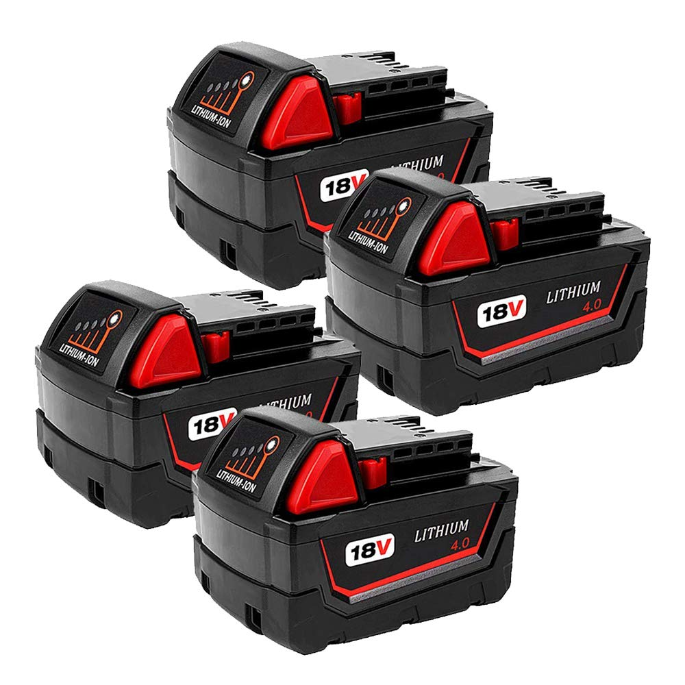 4-Pack 4.0Ah 18V M18 Battery for Milwaukee Lithium Battery Replacement Milwaukee XC 48-11-1840, 48-11-1815, 48-11-1820, 48-11- 1850 Compatible with Milwaukee 18-Volt Cordless Power Tools Batteries by CEENR