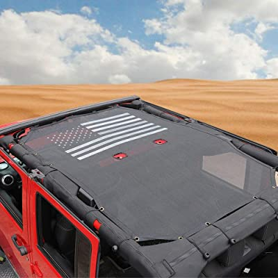 JK Sunshade Mesh Shade Top Cover Provides UV Sun Protection for 4 Door 2007-2020 Jeep Wrangler JK Accessories (Black US Flag): Automotive