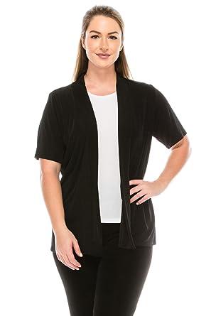 eeb7631d509 Jostar Women s Stretchy Drape Jacket Short Sleeve Plus at Amazon ...