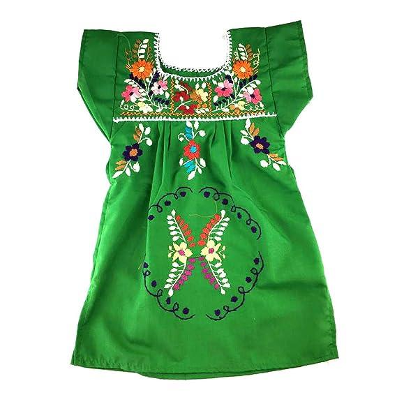 Vestido Mexicano Para Bebé Color Verde Talla 1 Para