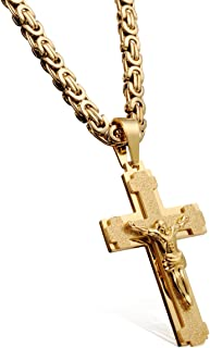 WESTMIAJW 18K Gold Tone Cross Necklace for Men Boys Prayer Stainless Steel Pendant Chain 60cm,Comes with Velvet Pouch