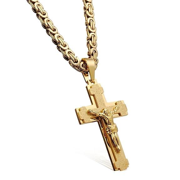 Collar con Colgante de Cruz de Acero Inoxidable Chapado en Oro Amarillo de 18 Quilates con Bolsa de Terciopelo para Hombrehttps://amzn.to/2KNde0x