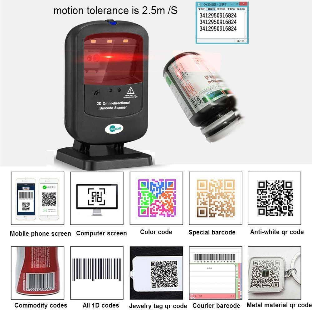 2D QR Omnidirectional Barcode Scanner,SVANTTO Desktop 2D 1D Scanner 1500 Times//Sec USB Wired Barcode Scanner