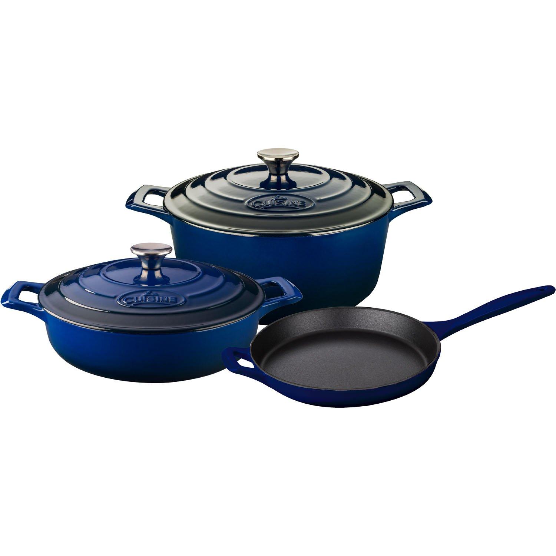 La Cuisine LC 2640 5 Piece Enameled Cast Iron Round Casserole調理器具セット 5-Piece ブルー LC 2670 B01LYPLMTM ブルー ブルー