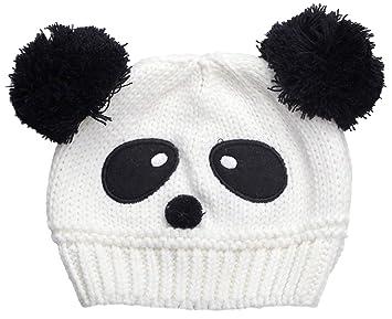 Baby Doppelkugel Panda Hut Wolle Gestrickte Mütze Häkeln Beanie 2
