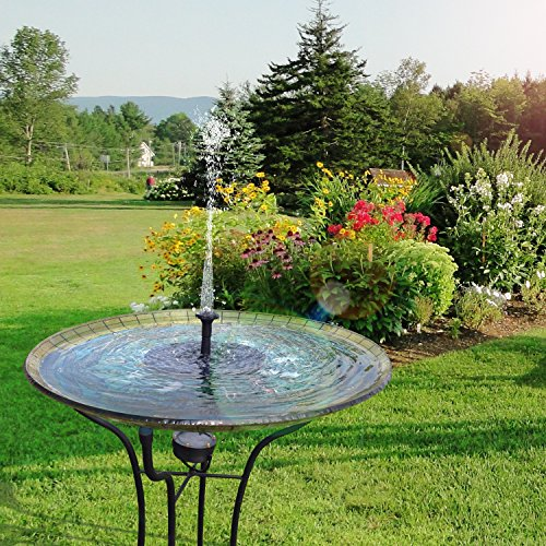 Upgraded Solar Powered Bird Bath Fountain Pump Hiluckey