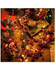 Christmas Garland with Lights, 6.8FT 20 LED Red Berry Pine Cone Garland Lights Battery Operated, led Garland String Lights, Christmas Decorations for Home, Garland for Fireplace Mantel Decor