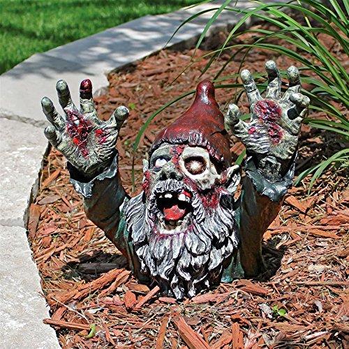 Design Toscano Zombie Gnombie Gothic Decor Garden Gnome Graveyard Statue, 11 Inch, Polyresin, Full Color