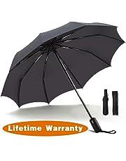 JUKSTG Umbrella 10 Ribs Auto Open/Close Windproof Rain Umbrella Waterproof Travel Umbrella Portable Umbrellas with Ergonomic Handle,Black