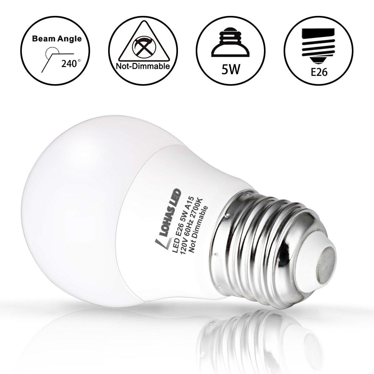 LOHAS 3W LED Light Bulb Not-Dim 6 Pack GK Lighting LH-BL-3W-2700k-6 E26 Medium Base Warm White 2700K LED Tiny Bulb 120V Small Night Light Bulbs for Bedroom Ceiling Fan Table Lamp Lighting G14 LED 25W Equivalent Light