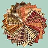 40 Primitive Charm Pack, 6 inch Precut Cotton Homespun Fabric Squares by Jubilee Creative Studio