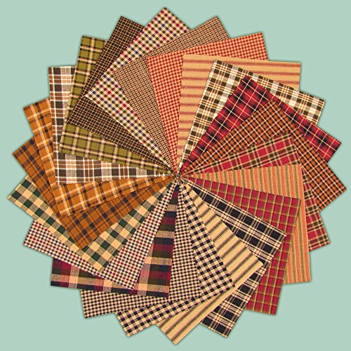 40 Primitive Charm Pack, 6 inch Precut Cotton Homespun Fabric Squares by Jubilee Creative Studio
