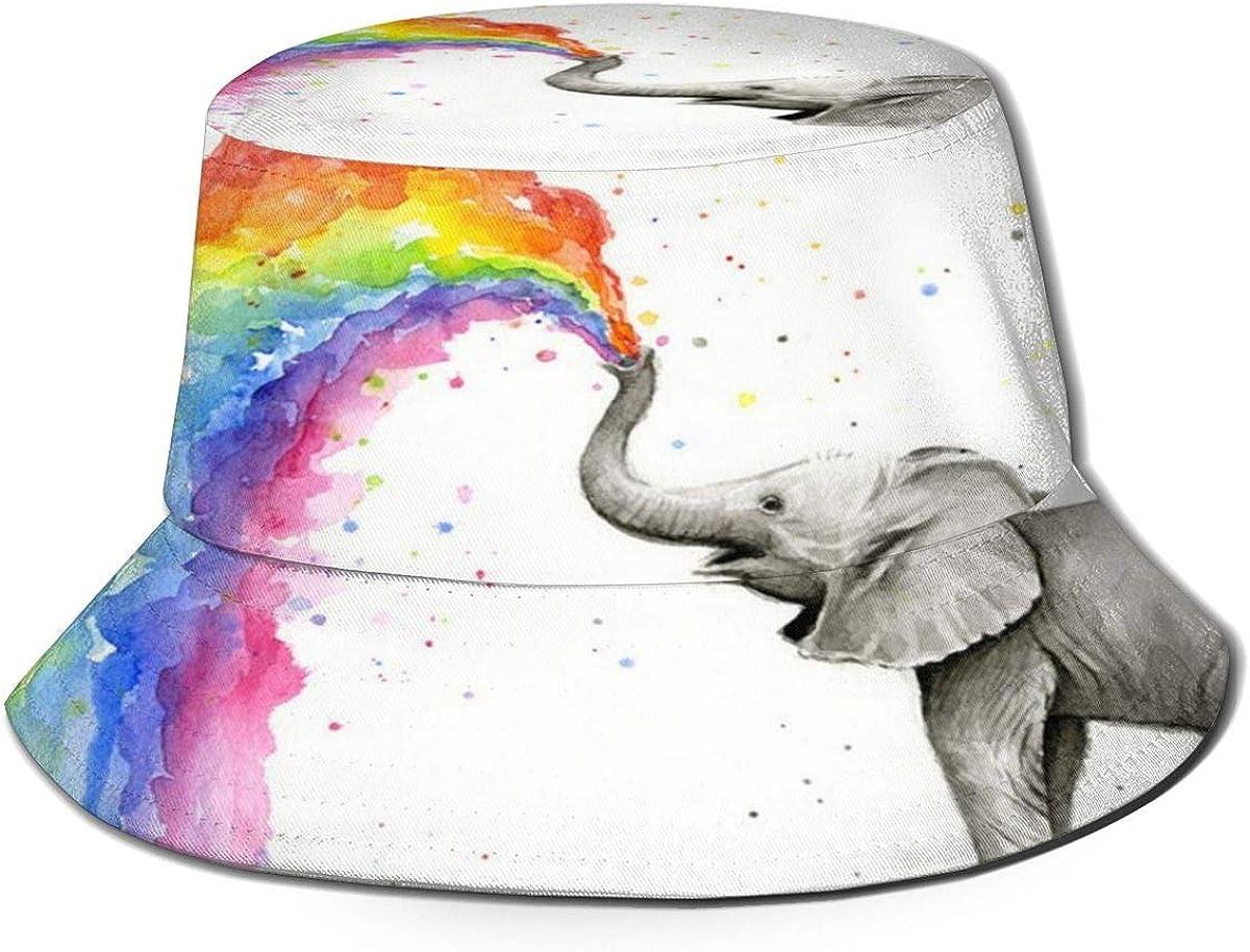 SDFRG Pulverizador de elefante Sombrero para el sol del arco iris Protección contra los rayos UV Sombrero de pescador empacable Sombrero boonie ligero y transpirable Sombrero de cubo de ala ancha Somb