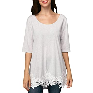bfdf3c1d0fb Howley 2018 Fashion Women Pure Color Lace O Neck Half Sleeve Tunic Tops  Blouse T-Shirt at Amazon Women s Clothing store