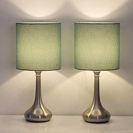 HAITRAL Bedside Table Lamps - Modern Nightstand Lamps Set of 2 with Fabric  Shade, Simple Small Desk Lamps for Bedroom, Office College Dorm, Ideal Gift  ...