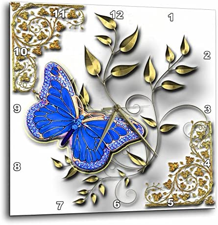 3dRose dpp_150948_3 Blue Butterfly and Gold Accents Wall Clock, 15 by 15-Inch