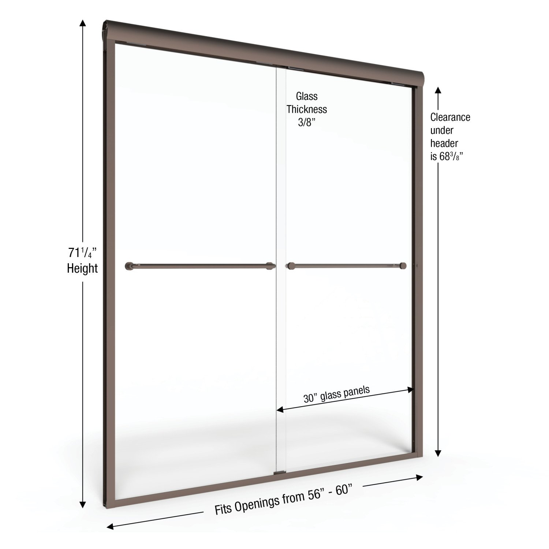 Celesta Semi Frameless Sliding Shower Door Fits 56 60 Inch Opening