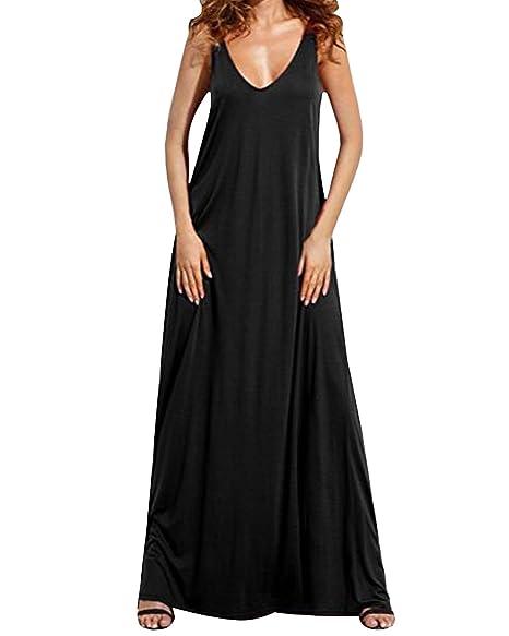 9ff4ac1b5b Kidsform Women Long Maxi Dress Casual Sleeveless V Neck Backless Summer  Beach Dress Tank Top Dress