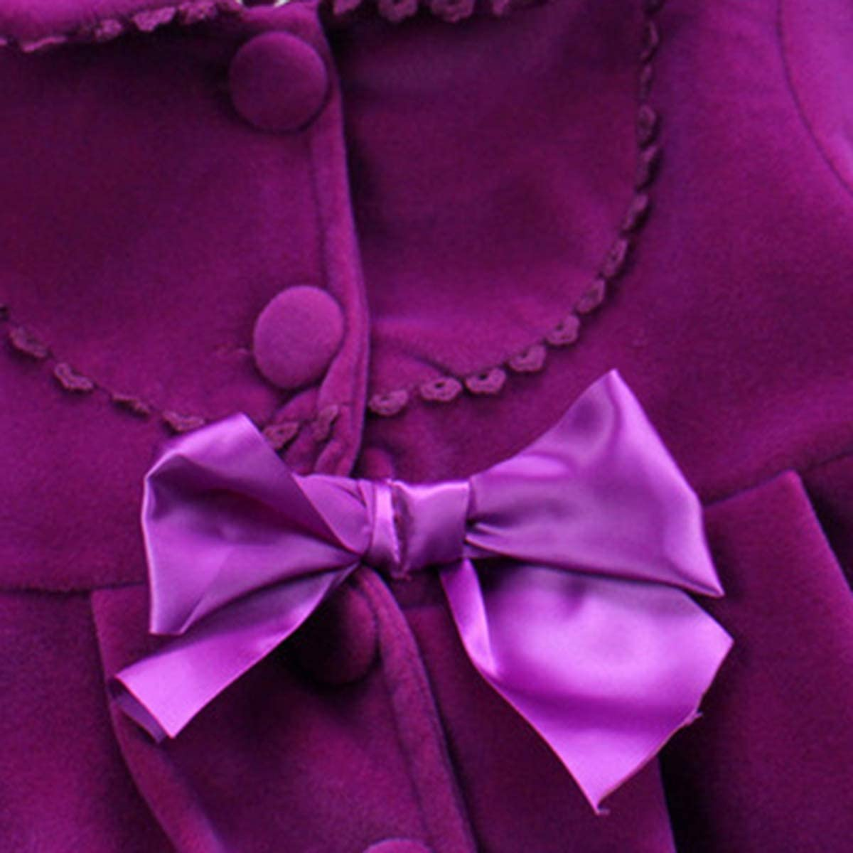 2-7T Toddler Girls Trench Coat Windbreaker Winter Warm Jacket Overcoat Cloak