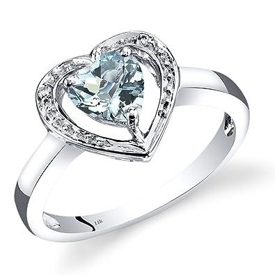 85351b41dc02 Revoni 14ct de oro blanco con forma de corazón anillo de compromiso de  diamantes y aguamarina 0