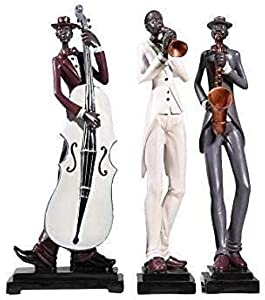 MFHDK Statues,Jazz Trio Statue Set Black Silver Musicians Cello Saxophone with White Cello Ornament for Living Room Wall Shelf Reading Nook Office Desk Sculptue Sculptures