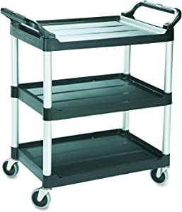 Simpli-Magic 79232 Utility Service Cart, 3 Shelf, Black